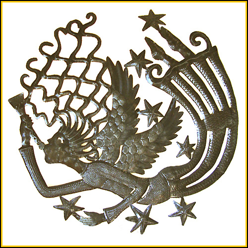 Haitian steel drum metal art angel
