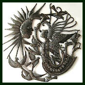 handcrafted metal angel wall hanging - Haitian steel drum metal art