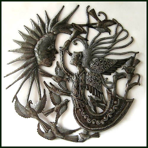 Haitian metal art angel wall hanging.