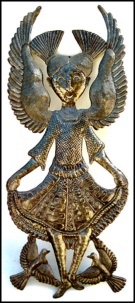 Happy Little Angel - Haitian Metal Art Wall Hanging - 14