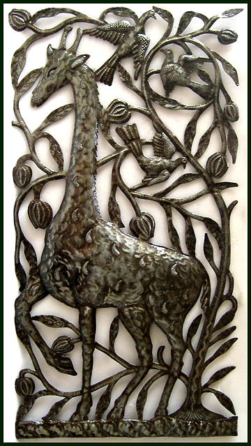 Giraffe in The Garden of Eden - Haitian art wall decor & Bible Scenes Metal Art - Haitian Steel Drum Art Wall Decor