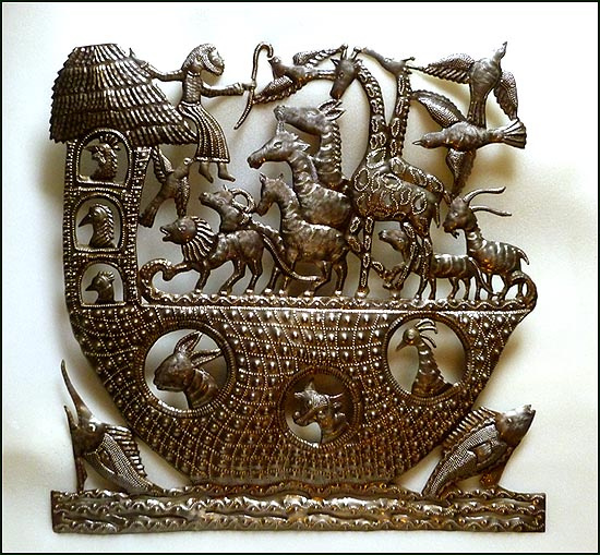 Bible scene - Noah's Ark - Haitian steel drum metal art.