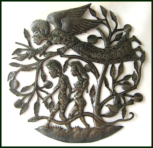 Adam & Eve are being carefully watched over. Haitian steel drum metal art wall hanging.