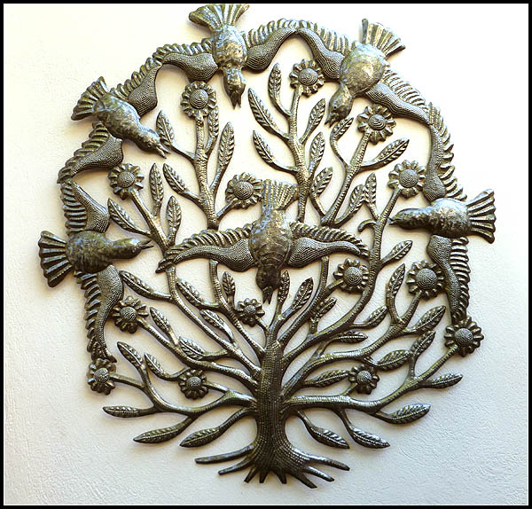 Metal bird wall hanging - Haitian steel drum metal art