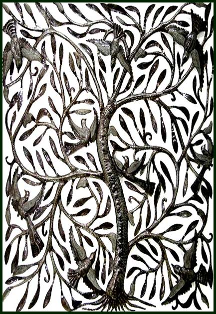 Metal Tree of Life Wall Art - Haitian Steel Drum Art Wall Decor