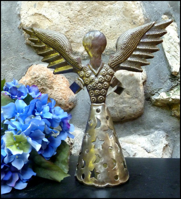Angel candle holder - Haitian steel drum art