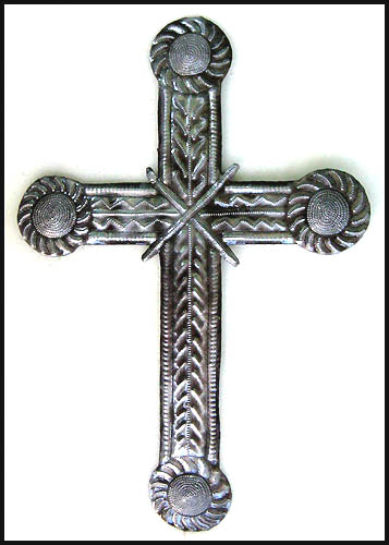 Hanging Wall Metal Cross - Handcrafted in Haiti - 18 1/2