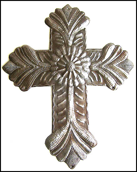 Handcrafted metal cross wall hanging - Haitian steel drum art