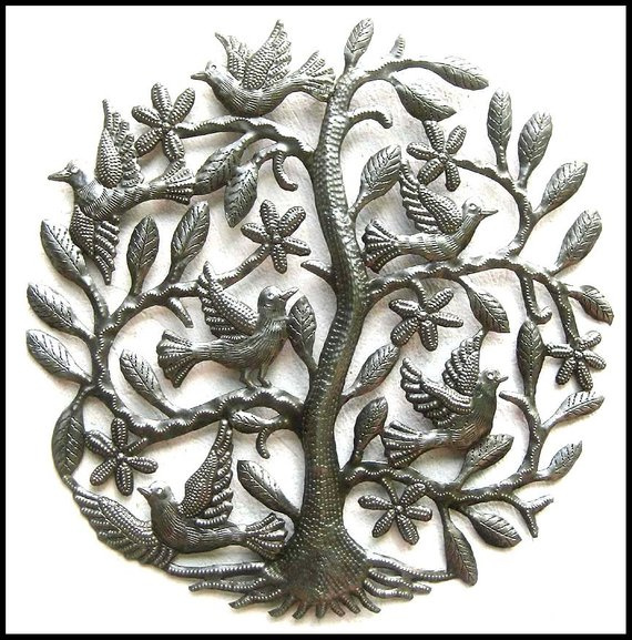 8247e135ad Haitian Metal Tree Art, Tree of Life, Metal Tree Wall Hanging, Metal Art