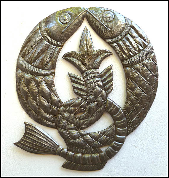 Celtic Fish symbol metal wall hanging