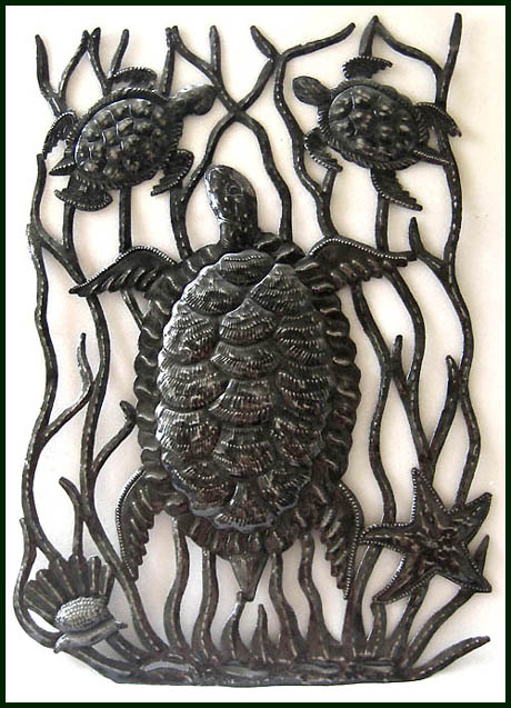 Decorative turtle design. Haitian steel drum metal art.