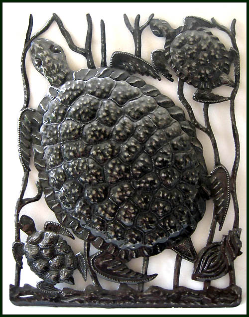 Decorative turtle wall hanging. Haitian metal art work.