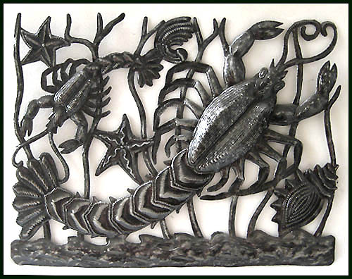 Sealife wall decor. Decorative Haitian metal art.