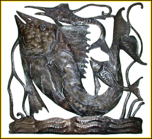Metal Fish Wall Hanging   Haitian Steel Drum Design.
