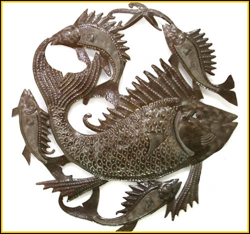 Fish design, Fish wall hanging, Haitian steel drum metal art