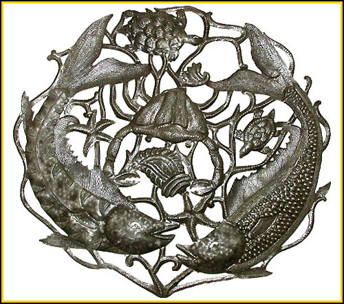 Fish Wall Hanging, Fishing Metal Art Design, Haitian steel drum art