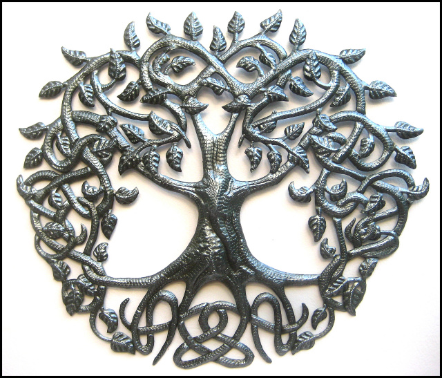 Metal tree wall hanging, Haiti metal art, Celtic knot design