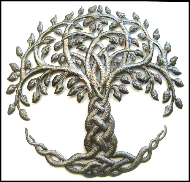 Metal art tree wall hanging, Irish art, Celtic art, Haiti Metal Art, Steel drum art