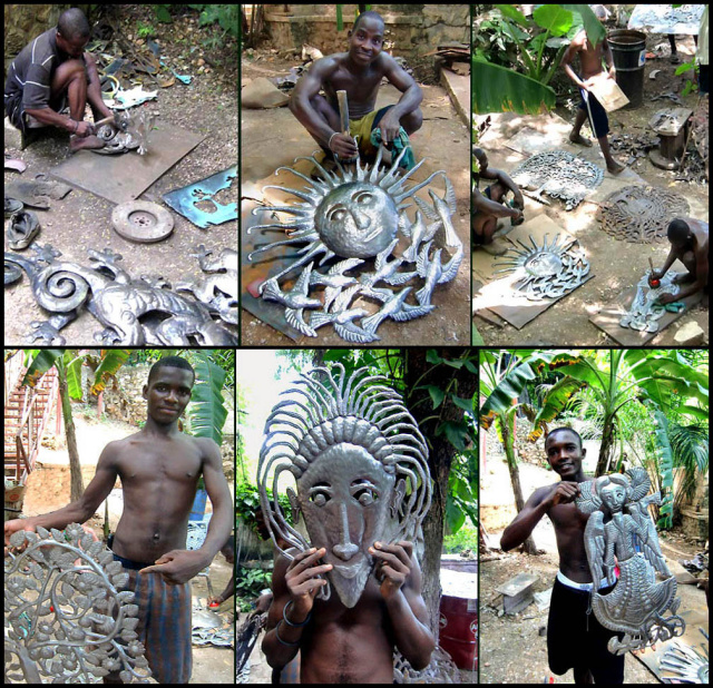 Making steel drum art in Haiti  - Haiti Metal Art - www.haitimetalart.com