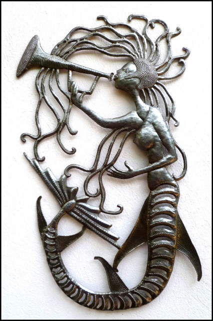 metal mermaid wall hanging - steel drum art of Haiti