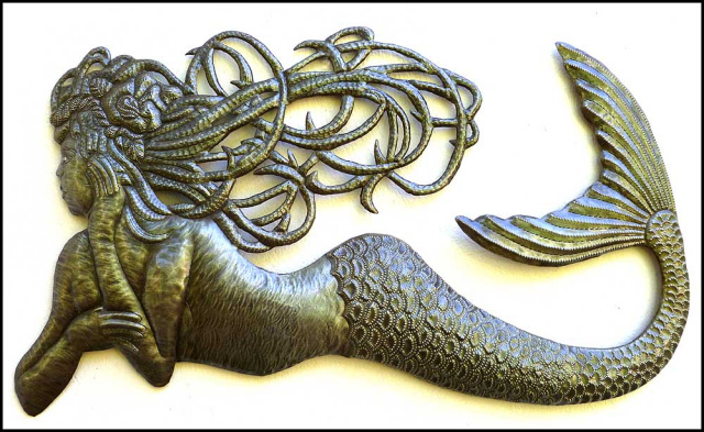 Delightful Metal Mermaid Wall Hanging   Haitian Steel Drum Art