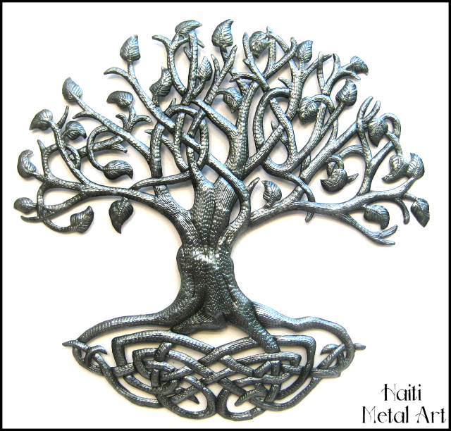 metal tree wall hanging, Haitian steel drum art