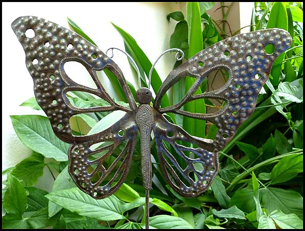 Butterfly Plant Stake   Metal Outdoor Garden Decor   Haitian Steel Drum Art.