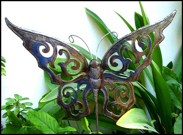 Good Butterfly Plant Stake   Garden Plant Sticks   Haitian Steel Drum Metal Art  Garden Decor  . View Images