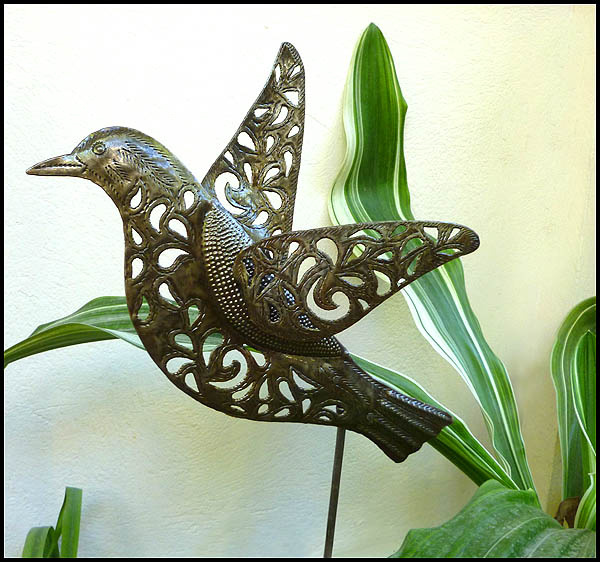 Garden Plant Stick Bird Stake Yard Decor Haitian Steel Drum Art View Images