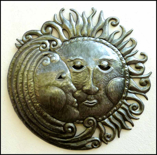 Sun And Moon Wall Decor sun metal art - haitian metal oil drum sun designs - steel drum art