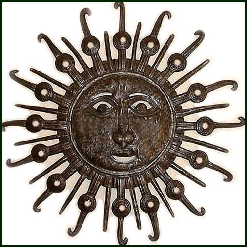 haitian sun wall hanging steel drum metal art - Sun Wall Decor