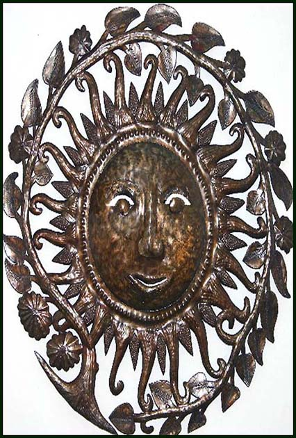 Decorative Haitian metal art wall hanging. Handcut from recycled steel drum.