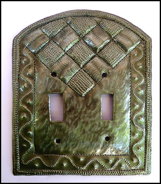 decorative metal switchplate cover recycled haitian steel drum art - Decorative Switch Plate Covers