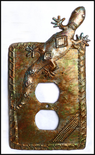 Metal Outlet cover -Haitian steel drum art - Gecko