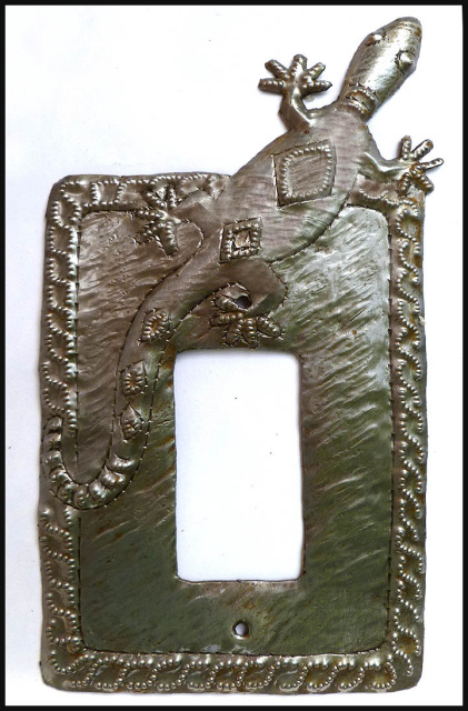 Gecko metal art switchplate, Rocker Switch Plate Cover