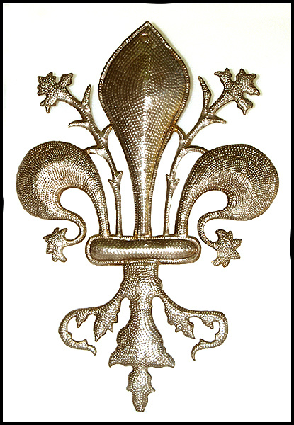 Fleur de lys metal wall decor - Haitian steel drum art.