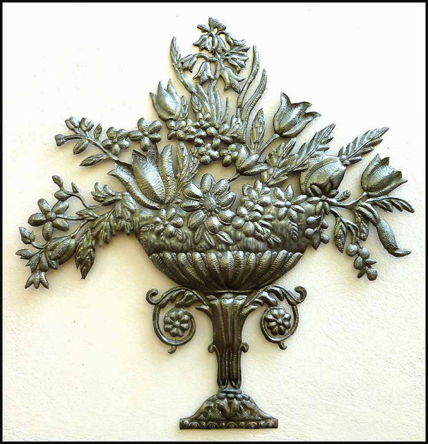 Floral Decorative Wall Hanging - Haitian steel drum metal art