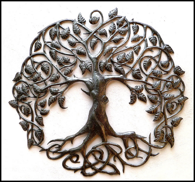 Metal Tree Wall Decor Haitian Art Steel Drum Garden 34 159 95