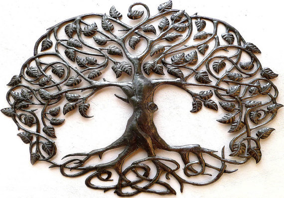 Metal tree wall art. Haiti Metal Art
