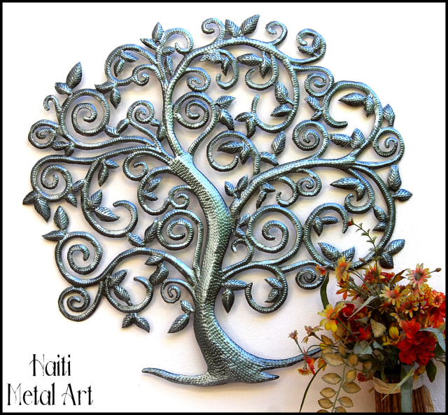 metal tree wall hanging, tree wall art, Haiti metal art, recycled steel drum