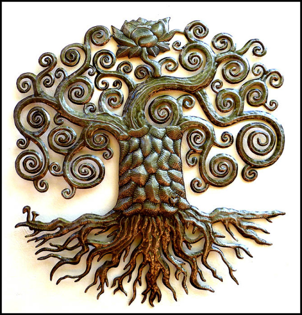 Haitian steel drum art - tree design