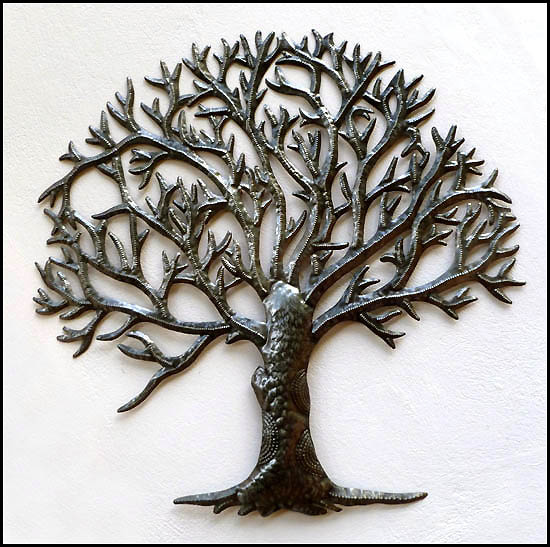Large Tree Design - Handcrafted Haitian Steel Drum Wall Art - 34