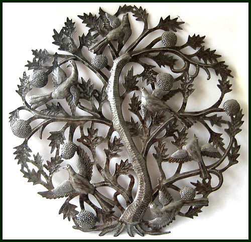 Haitian metal art - Tree of Life wall hanging.