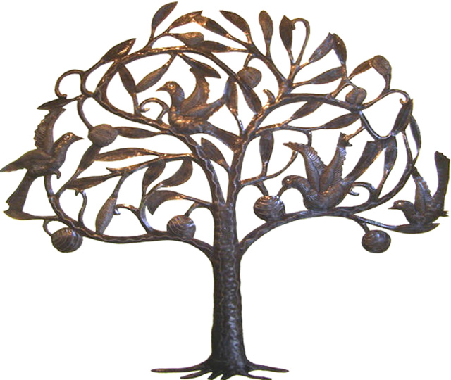 haitian steel drum metal art fruit tree with birds wall decor 25 x view images - Metal Tree Wall Decor