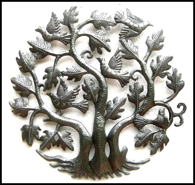 Metal wall art, Birds, Haitian metal art