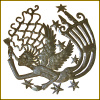 "Handcrafted Metal Angel Wall Hanging - Haitian Steel Drum Art - 24"" x 24"""