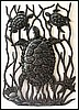 "Haitian Metal Design - Turtles Under the Sea - Haitian Metal Art - 17"" x 24"""