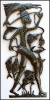 "Haitian Fisherman - Recycled Steel Drum Metal Art Wall Hanging - 16"" x 34"""