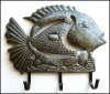 "Metal Fish Wall Hook - Bathroom Wall Decor - Haitian Metal Art, Towel Hook - 15"" x 13"""