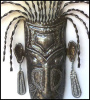 Metal Mask Wall Art - Recycled Steel Drums in Haiti - Haitian Art - 22""